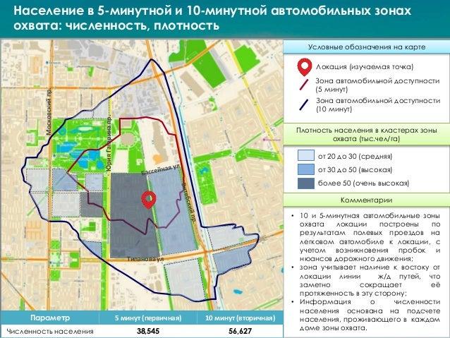 Население в 5-минутной и 10-минутной автомобильных зонах охвата: численность, плотность Условные обозначения на карте Плот...
