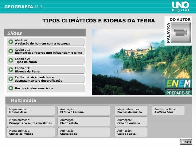 TIPOS CLIMÁTICOS E BIOMAS DA TERRA GEOGRAFIA M.3 Multimídia X SAIR Abertura: A relação do homem com a natureza Abertura: A...