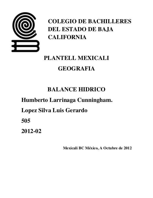 COLEGIO DE BACHILLERES           DEL ESTADO DE BAJA           CALIFORNIA          PLANTELL MEXICALI             GEOGRAFIA ...