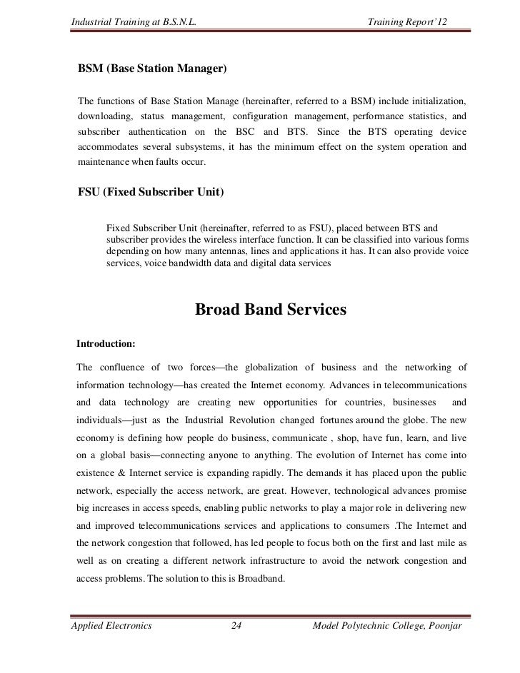 Industrial Training at B.S.N.L.                                           Training Report'12 BSM (Base Station Manager) Th...