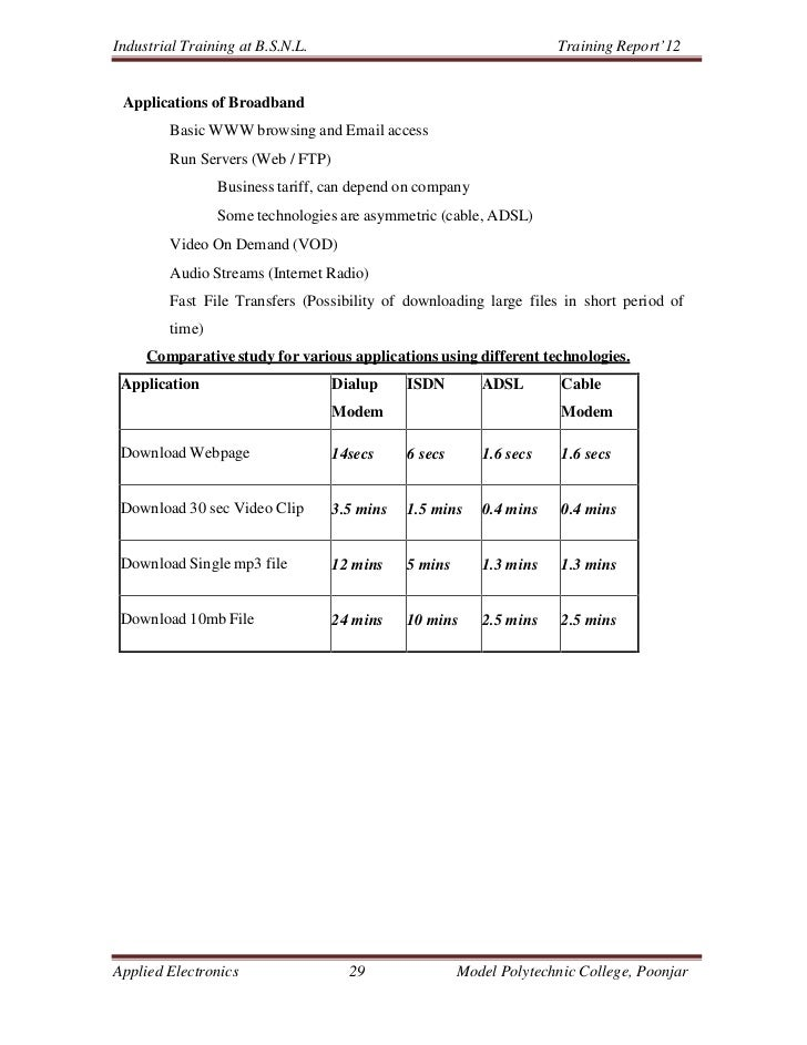 Industrial Training at B.S.N.L.                                      Training Report'12 Applications of Broadband         ...
