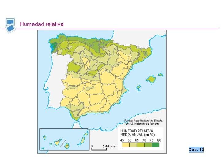 Geograf a de espa a bachillerato clima - Humedad relativa espana ...