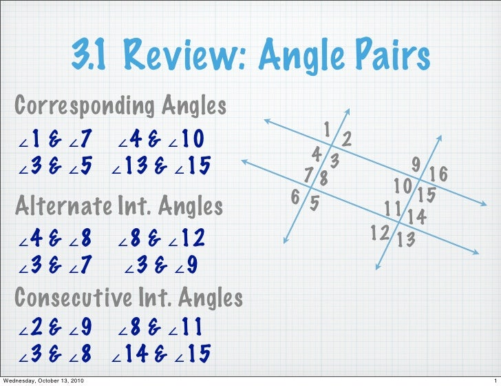 3.1 Review: Angle Pairs    Corresponding Angles                                              1 2     ∠1 & ∠7 ∠4 & ∠10     ...