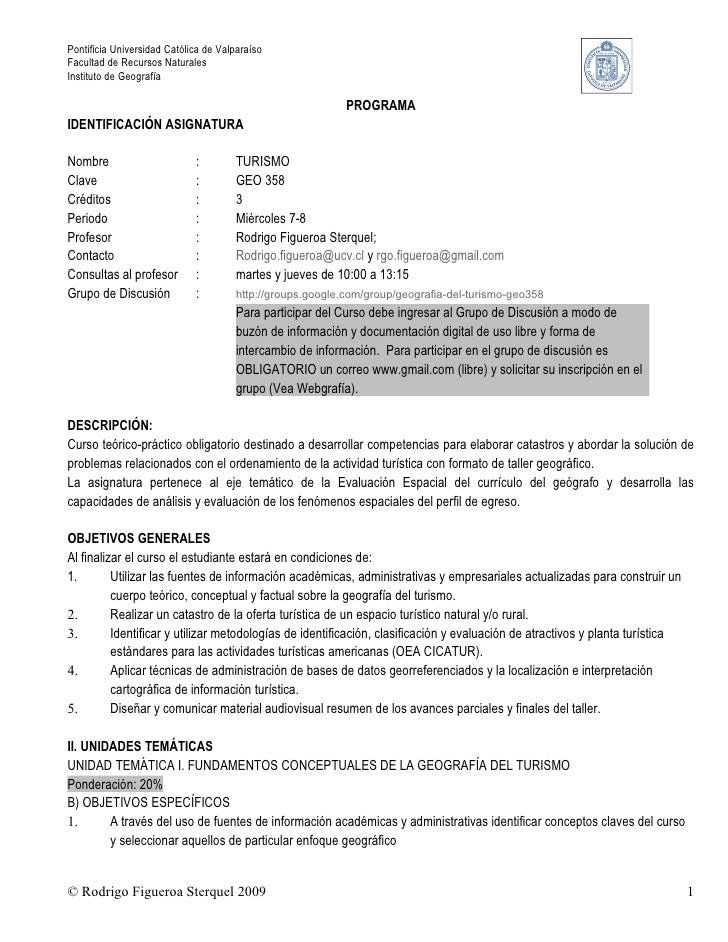 Pontificia Universidad Católica de Valparaíso Facultad de Recursos Naturales Instituto de Geografía                       ...