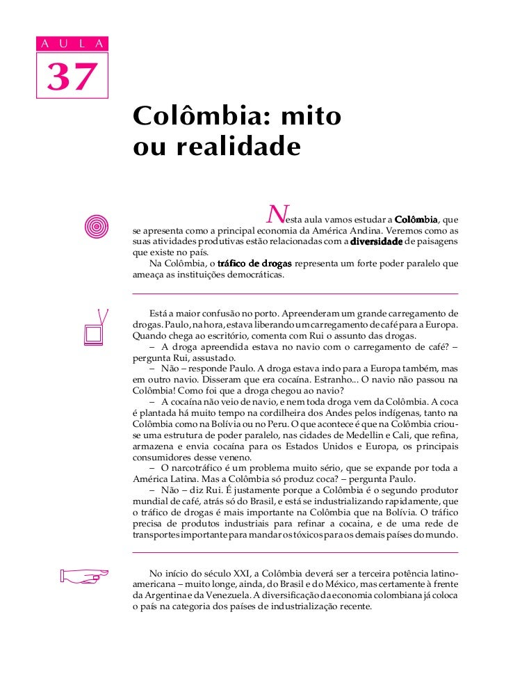 A UA U L A     L A    3737             Colômbia: mito             ou realidade                                            ...