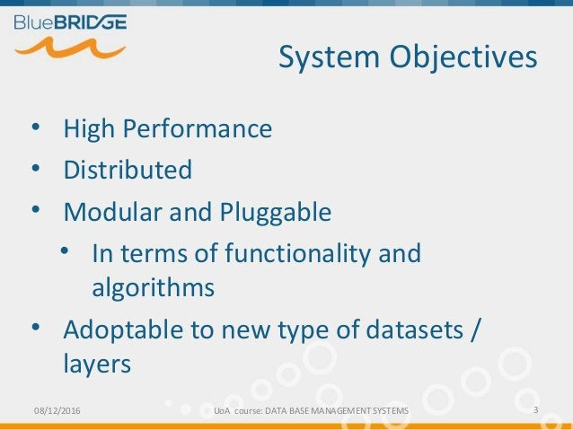 System Objectives 3 • High Performance • Distributed • Modular and Pluggable • In terms of functionality and algorithms • ...