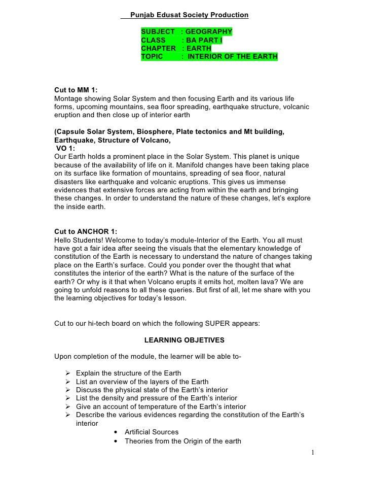 Punjab Edusat Society Production                              SUBJECT      : GEOGRAPHY                             CLASS  ...