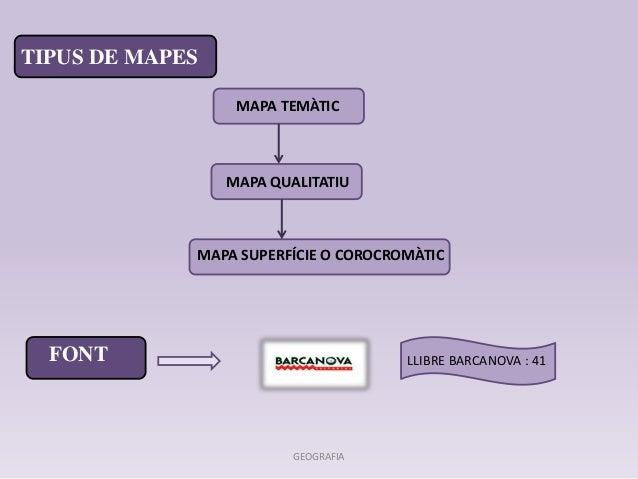 MAPA TEMÀTIC  MAPA QUALITATIU  TIPUS DE MAPES  MAPA SUPERFÍCIE O COROCROMÀTIC  FONT LLIBRE BARCANOVA : 41  GEOGRAFIA