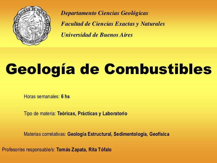 Departamento Ciencias Geológicas                            Facultad de Ciencias Exactas y Naturales                      ...
