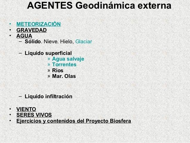 AGENTES Geodinámica externa•   METEORIZACIÓN•   GRAVEDAD•   AGUA     – Sólido. Nieve. Hielo, Glaciar     – Líquido superfi...