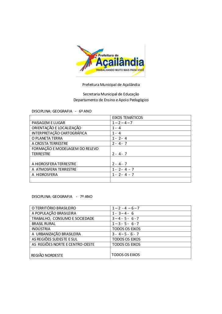 Prefeitura Municipal de Açailândia                         Secretaria Municipal de Educação                    Departament...