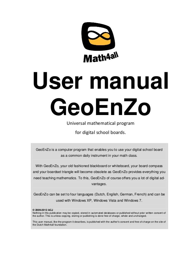 User manual GeoEnZoUniversal mathematical program for digital school boards. GeoEnZo is a computer program that enables yo...