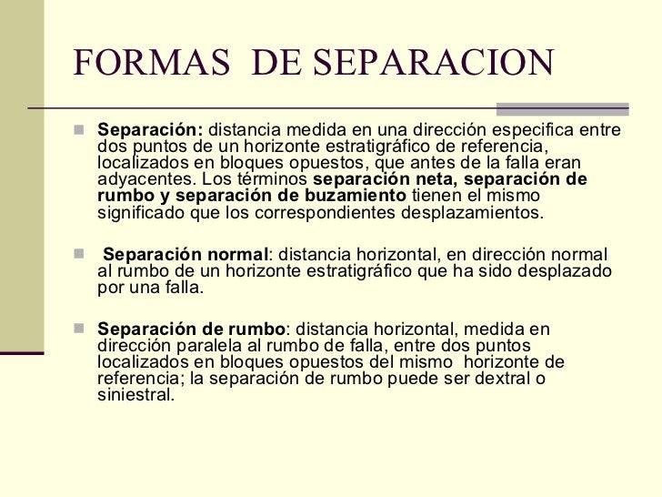 FORMAS  DE SEPARACION <ul><li>Separación:  distancia medida en una dirección especifica entre dos puntos de un horizonte e...