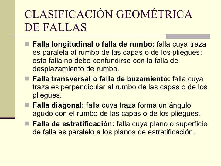 CLASIFICACIÓN GEOMÉTRICA DE FALLAS   <ul><li>Falla longitudinal o falla de rumbo:  falla cuya traza es paralela al rumbo d...