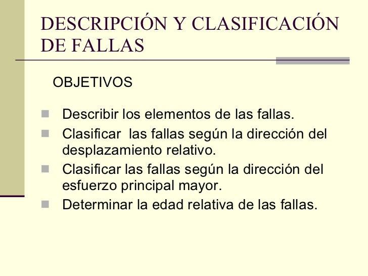 DESCRIPCIÓN Y CLASIFICACIÓN DE FALLAS <ul><li>Describir los elementos de las fallas. </li></ul><ul><li>Clasificar  las fal...
