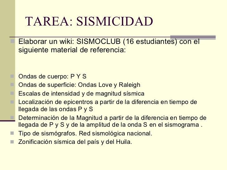 TAREA: SISMICIDAD <ul><li>Elaborar un wiki: SISMOCLUB (16 estudiantes) con el siguiente material de referencia: </li></ul>...