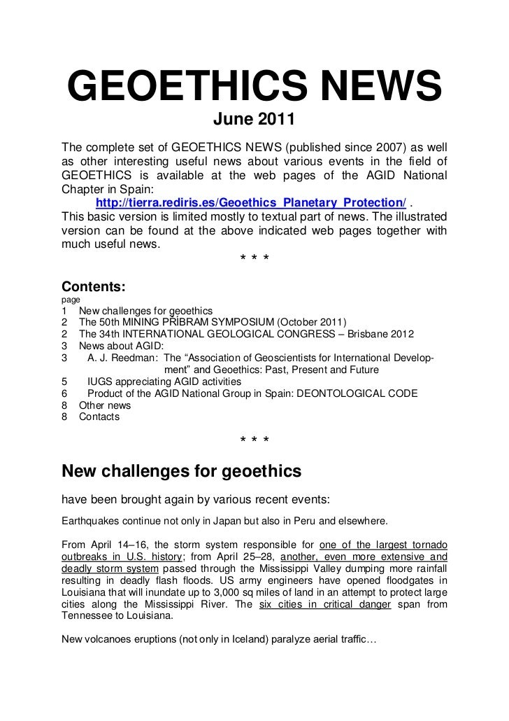 GEOETHICS NEWS                                  June 2011The complete set of GEOETHICS NEWS (published since 2007) as well...