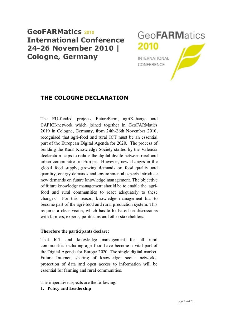GeoFARMatics 2010International Conference24-26 November 2010 |Cologne, Germany   THE COLOGNE DECLARATION   The EU-funded p...