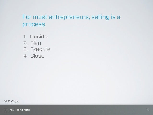 For most entrepreneurs, selling is a              process              1.   Decide              2.   Plan              3. ...