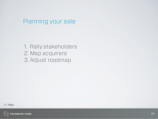 Planning your sale           1. Rally stakeholders           2. Map acquirers           3. Adjust roadmap02: Plan         ...