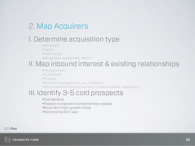 2. Map Acquirers           I. Determine acquisition type               •Strategic               •Talent               •Tec...