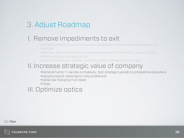3. Adjust Roadmap           I. Remove impediments to exit               •Extract company from any business development dea...