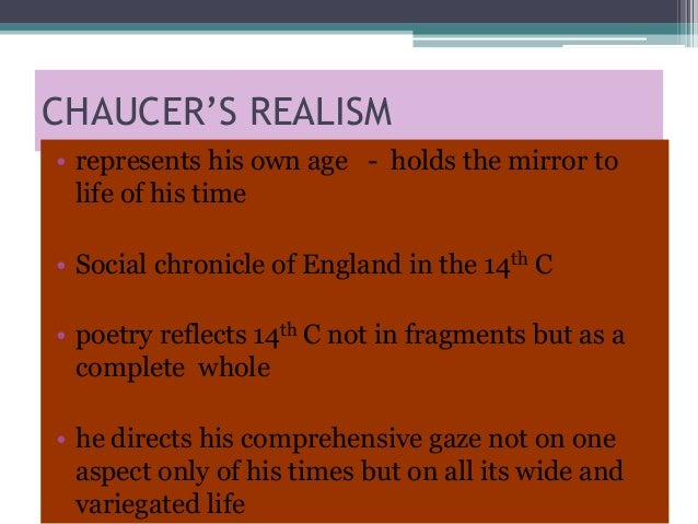 Chaucer as a realist