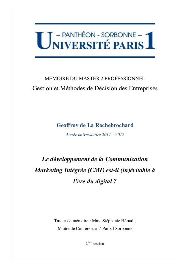 Très Geoffroy de la rochebrochard mémoire gmde 2012 cmi HN76