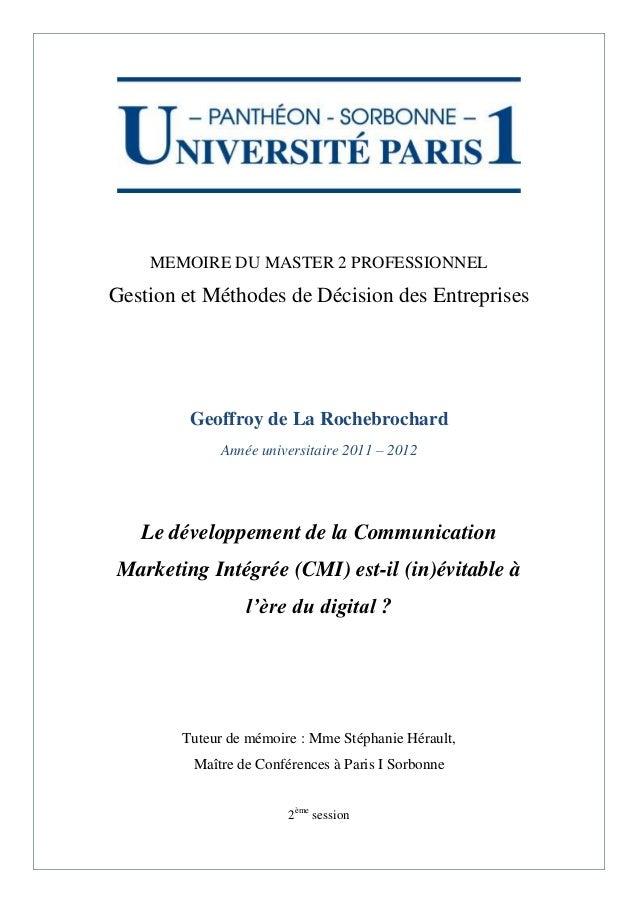 MEMOIRE DU MASTER 2 PROFESSIONNELGestion et Méthodes de Décision des Entreprises         Geoffroy de La Rochebrochard     ...