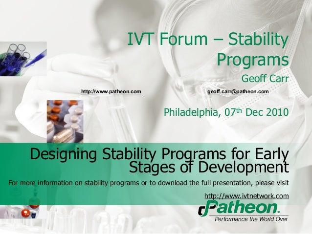 IVT Forum – Stability                                                  Programs                                           ...