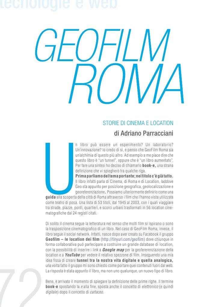 tecnologie e web                                            storie di cinema e location     U                             ...