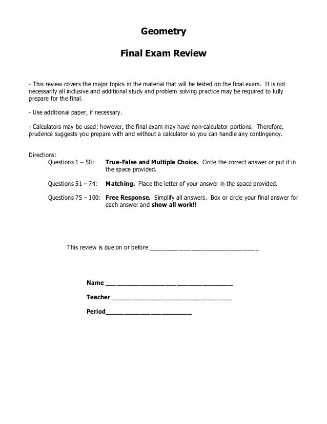 Geo Final Exam Review