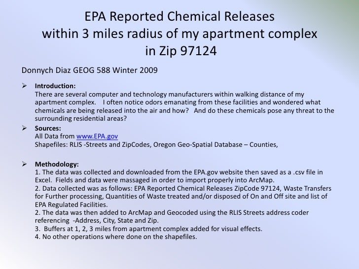 EPA Reported Chemical Releases within 3 miles radius of my apartment complex in Zip 97124<br />Donnych Diaz GEOG 588 Winte...