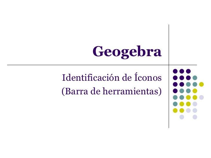 Geogebra Identificación de Íconos (Barra de herramientas)