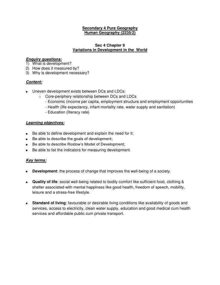 Secondary 4 Pure Geography                                  Human Geography (2235/2)                                      ...
