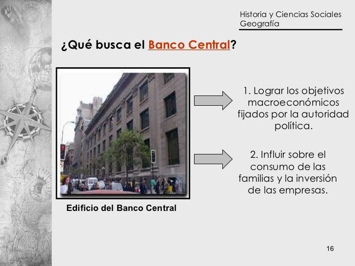 1. Lograr los objetivos macroeconómicos fijados por la autoridad política. ¿Qué busca el  Banco Central ? 2. Influir sobre...