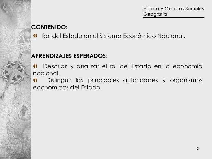 CONTENIDO:  APRENDIZAJES ESPERADOS: <ul><li>Rol del Estado en el Sistema Económico Nacional.  </li></ul><ul><li>Describir ...