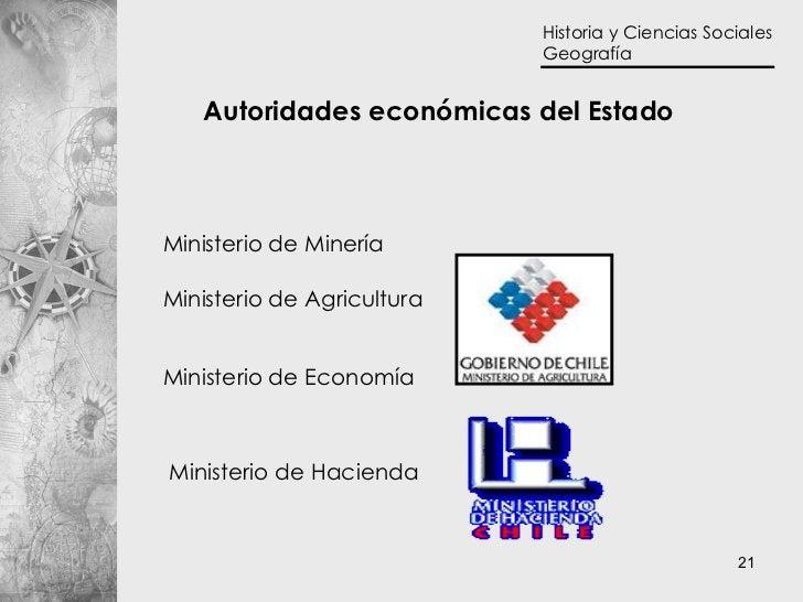 Autoridades económicas del Estado Ministerio de Minería Ministerio de Economía Ministerio de Agricultura Ministerio de Hac...