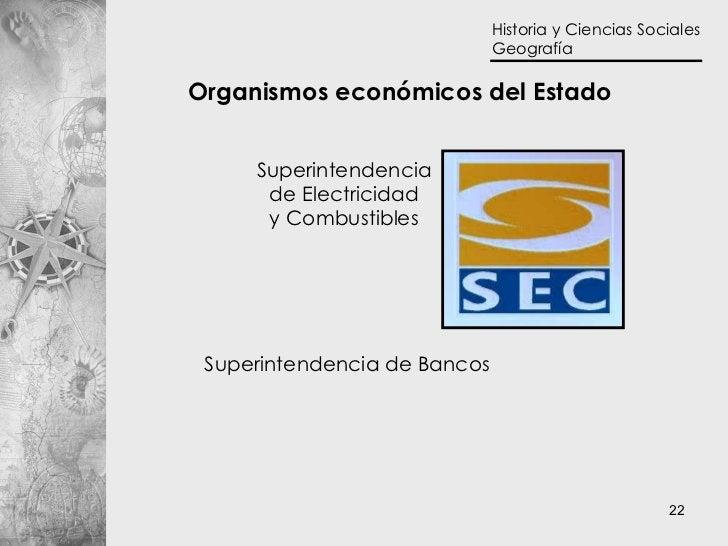 Organismos económicos del Estado Superintendencia de Bancos Superintendencia de Electricidad y Combustibles
