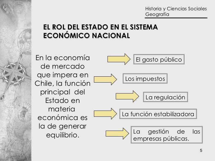 En la economía de mercado que impera en Chile, la función principal  del Estado en materia  económica es la de generar equ...