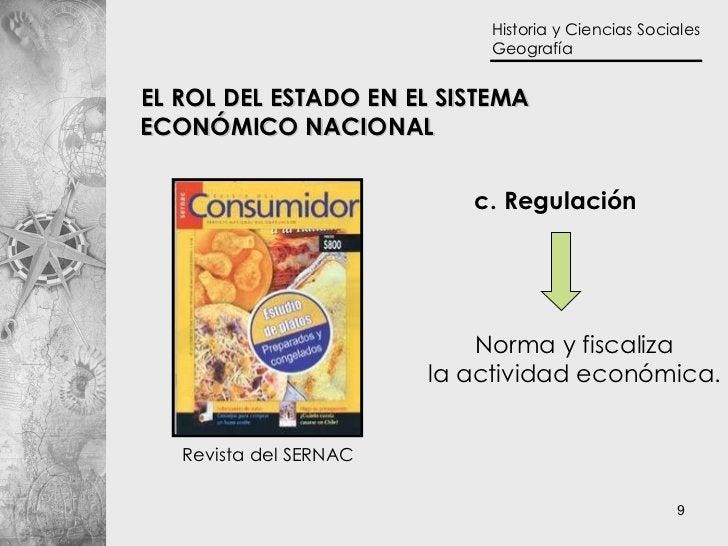 c. Regulación Norma y fiscaliza la actividad económica. EL ROL DEL ESTADO EN EL SISTEMA  ECONÓMICO NACIONAL Revista del SE...