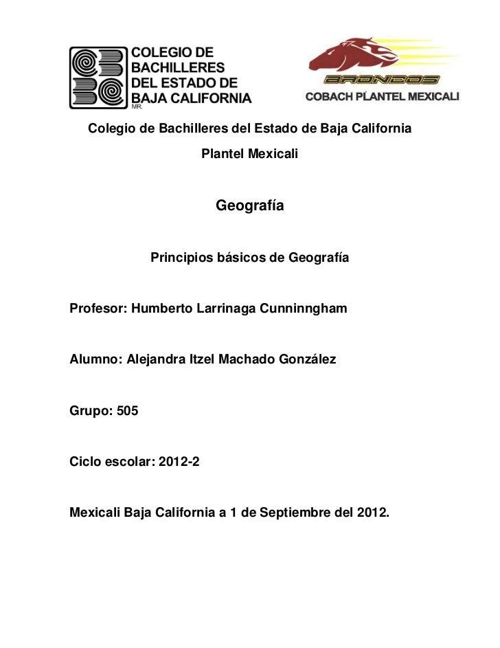 Colegio de Bachilleres del Estado de Baja California                        Plantel Mexicali                          Geog...
