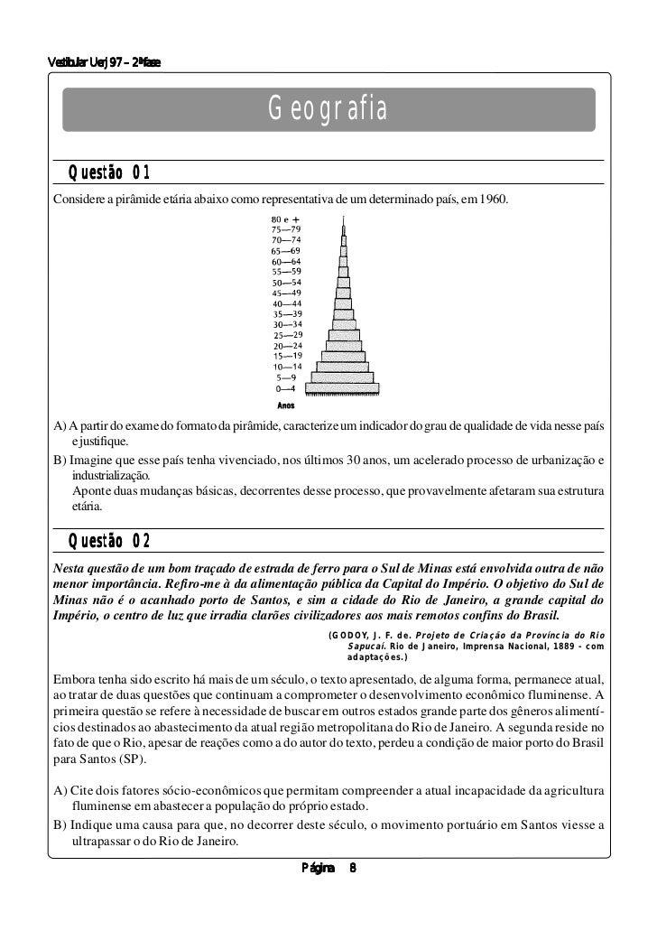 Vestibular Uerj 97 – 2ª fase                                           Geografia     Questão 01 Considere a pirâmide etári...