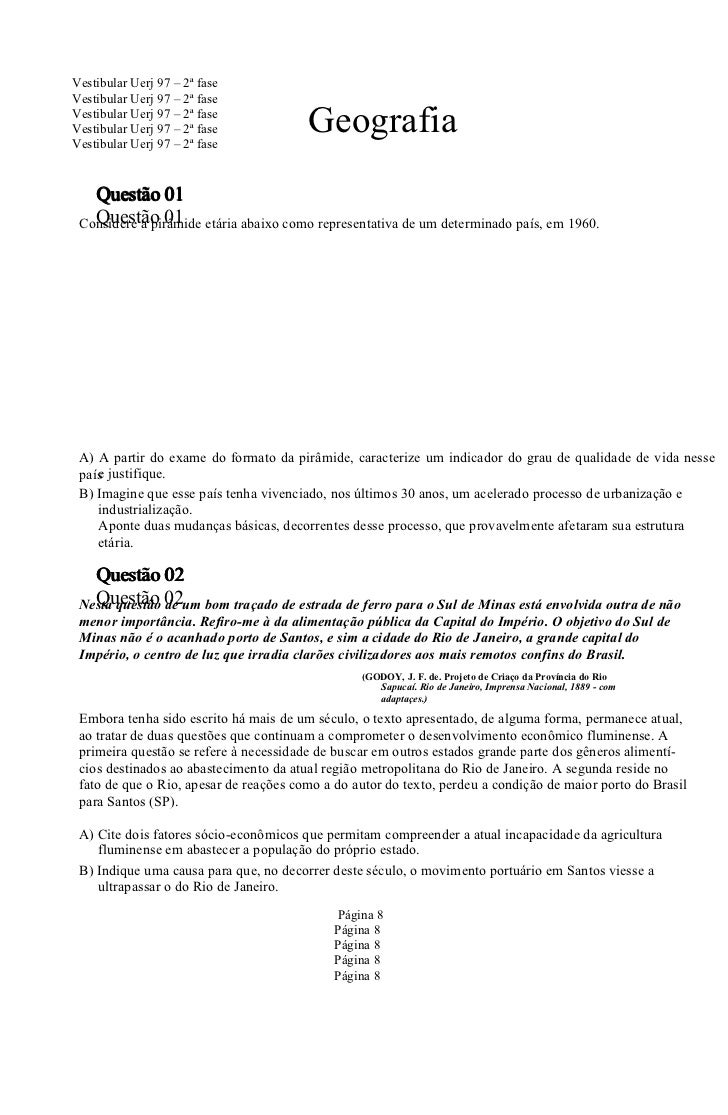 Vestibular Uerj 97 – 2ª faseVestibular Uerj 97 – 2ª faseVestibular Uerj 97 – 2ª faseVestibular Uerj 97 – 2ª faseVestibular...