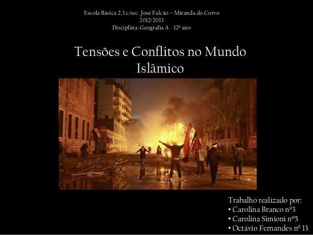 Escola Básica 2,3 c/sec. José Falcão – Miranda do Corvo                         2012/2013            Disciplina: Geografia...