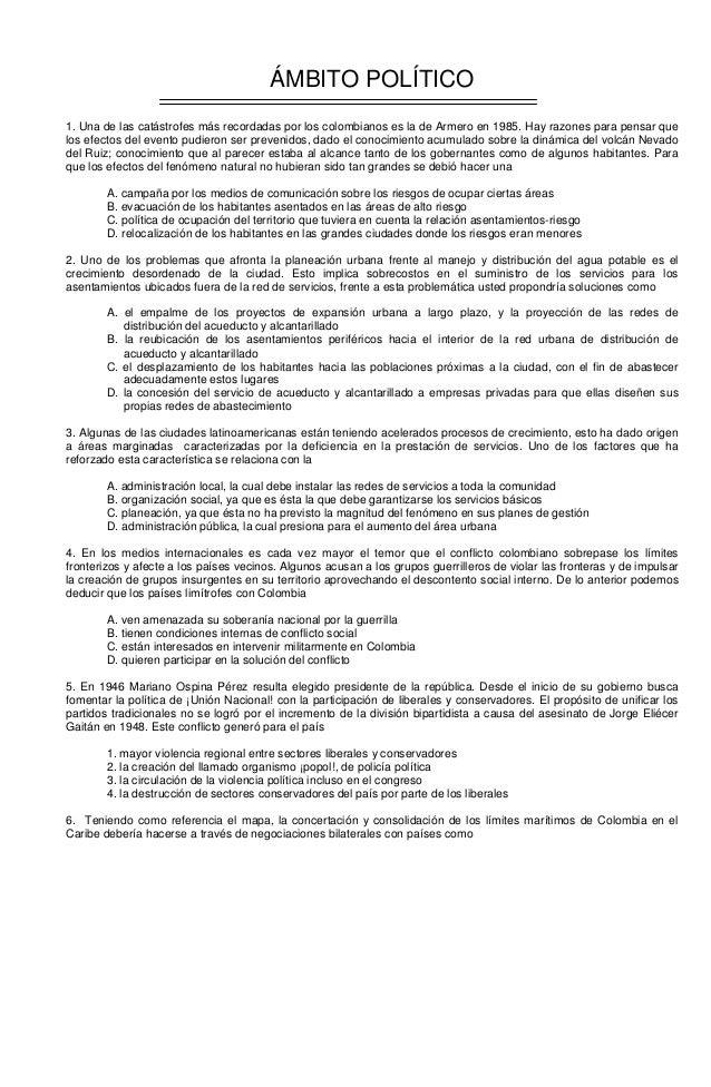 ÁMBITO POLÍTICO 1. Una de las catástrofes más recordadas por los colombianos es la de Armero en 1985. Hay razones para pen...