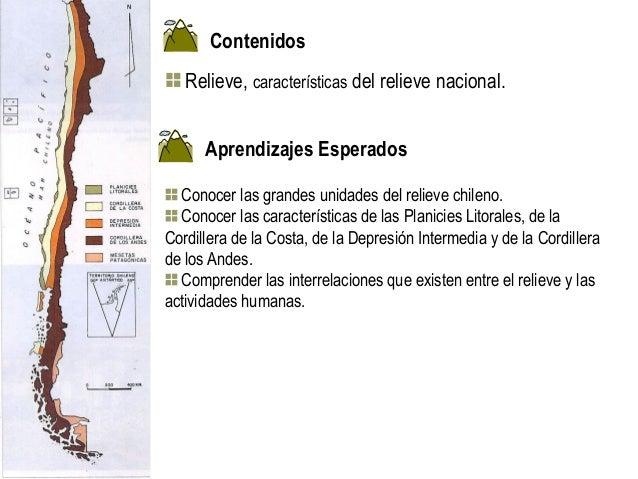 Contenidos   Relieve, características del relieve nacional.      Aprendizajes Esperados  Conocer las grandes unidades del ...