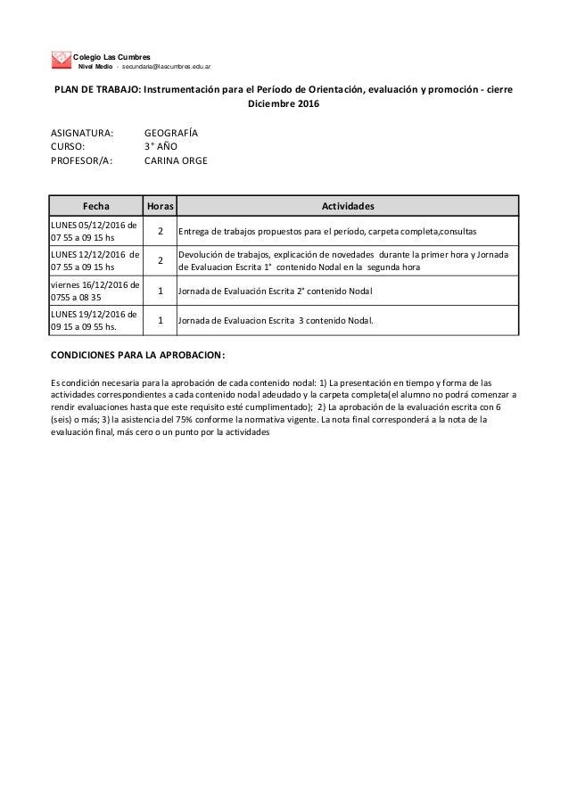 Colegio Las Cumbres Nivel Medio - secundaria@lascumbres.edu.ar ASIGNATURA: GEOGRAFÍA CURSO: 3° AÑO PROFESOR/A: CARINA ORGE...