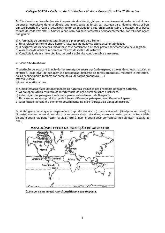 """Colégio SOTER - Caderno de Atividades - 6º Ano - Geografia - 1º e 2º Bimestre  1- """"Os inventos e descobertas são inseparáv..."""