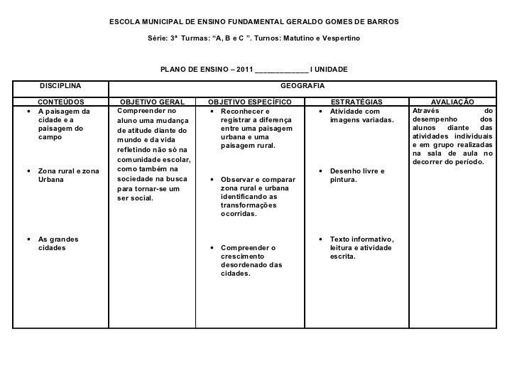 """ESCOLA MUNICIPAL DE ENSINO FUNDAMENTAL GERALDO GOMES DE BARROS                                 Série: 3ª Turmas: """"A, B e C..."""